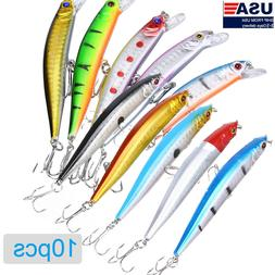 10PCS Fishing Lures Crankbaits Jerkbait Minnow Lot Hooks Cra