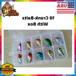 Lot Of 10 Fishing Lures Crankbaits With Box Trout/Bluegill/C