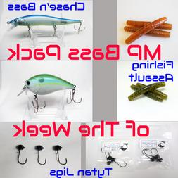 MaPop Fishing Bass Combo Package Ned Rig Worms-Crankbait-Jer
